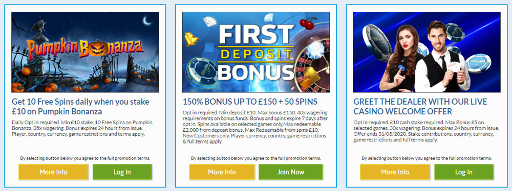 Bonuses William Hill Casino